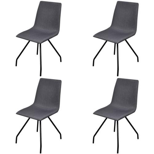 4 de telas Cenando sillas con patas de hierro gris oscuro