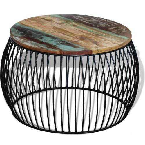 Table basse ronde en bois massif récupéré 68x43 cm