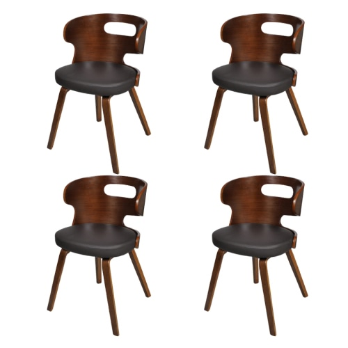 Set of 4 Dining Chairs Wooden Frame Brown Cut Out Bent