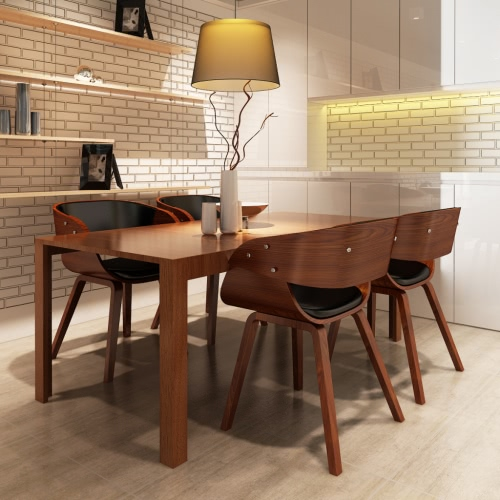 Set von 4 Wooden Dining Chair Brown