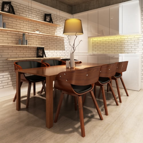 Set di 6 Wooden Dining Chair Brown