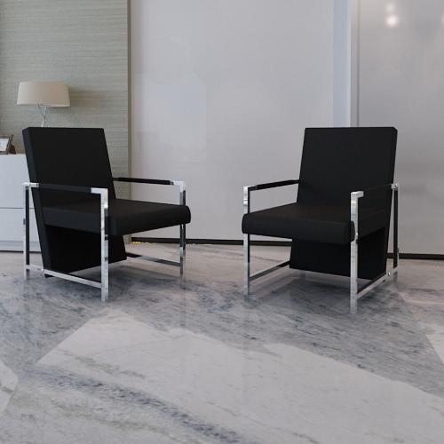 Cubo sillón negro 2 pcs con los pies cromo de alta calidad