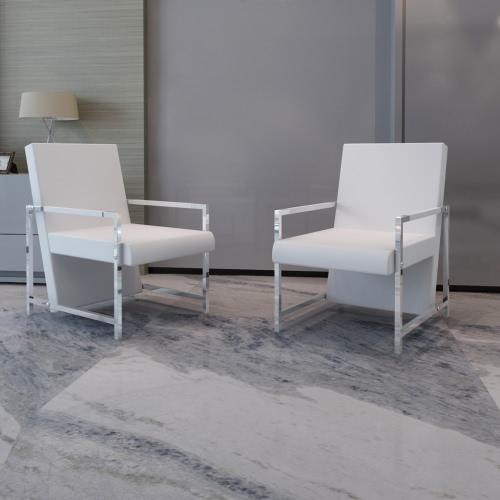 Cube Armchair White 2 pcs with Chrome Feet High Quality