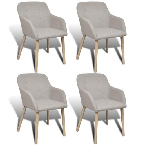 La silla del roble cubierta de tela Juego de comedor de 4 piezas con apoyabrazos Beige