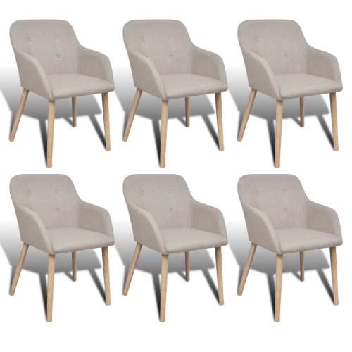 Oak Indoor Fabric Dining Chair Set 6 pcs with Armrest Beige