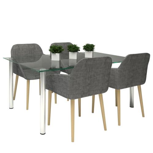 Oak coperta tessuto Dining Chair Set 4 pezzi con bracciolo Dark Grey