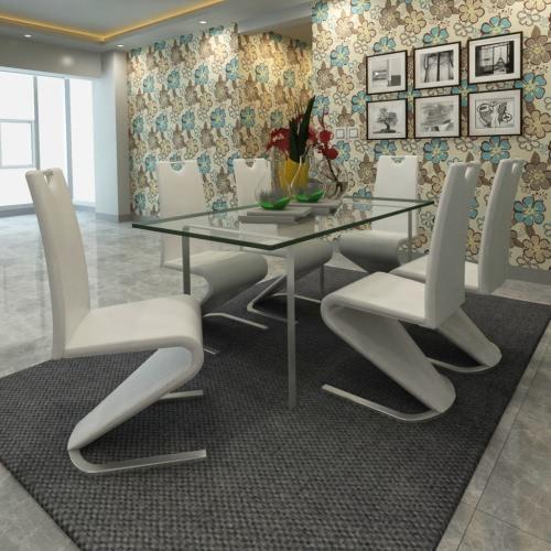 Blanco de la silla cantilever de cuero artificial con forma de U del pie Conjunto de 6