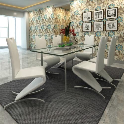 Blanco de la silla cantilever de cuero artificial con forma de H Pie Conjunto de 6