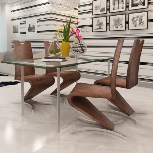 Brown sedia cantilever artificiale in pelle con a forma di H messo piede su 4