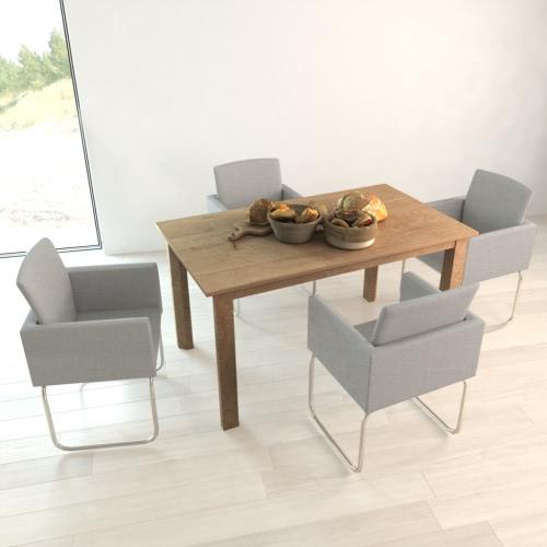 4 PC silla de comedor gris claro con apoyabrazos