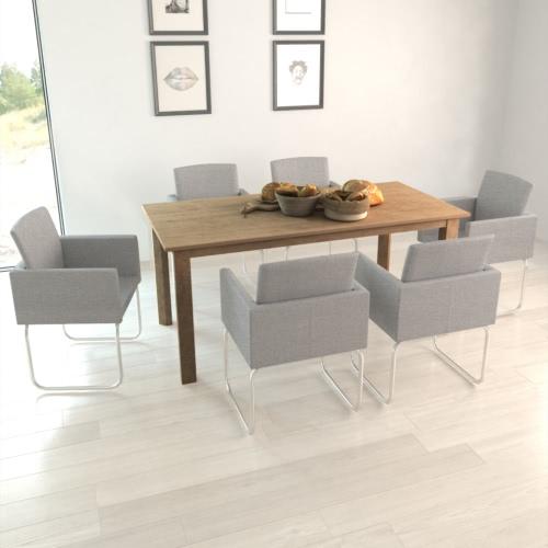6 Stück Light Grey Dining Stuhl mit Armlehnen