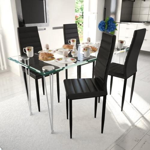 Juego de Comedor Negro Silla Slim Line 4 PC con 1 mesa de cristal