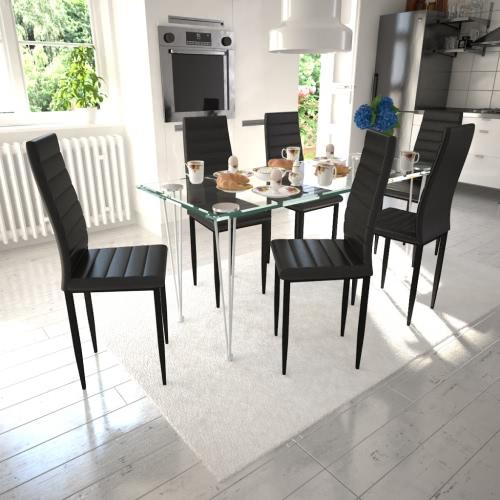 Pranzo insieme sedia Slim Line Nero 6 pezzi con 1 tavolo di vetro