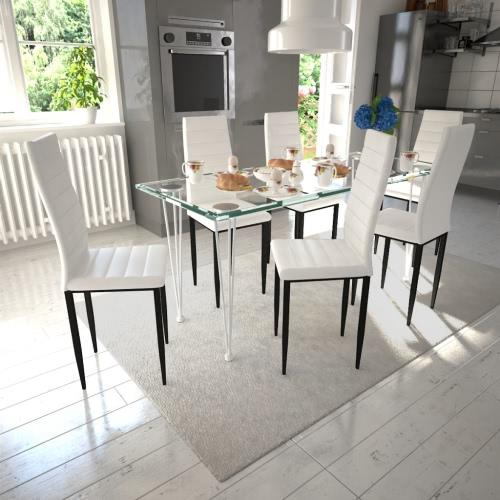 6 tavolo bianco sedie da pranzo Slim Line vetro trasparente