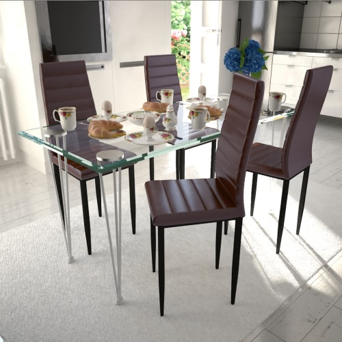 4 dining chairs Slim Line brown transparent glass table