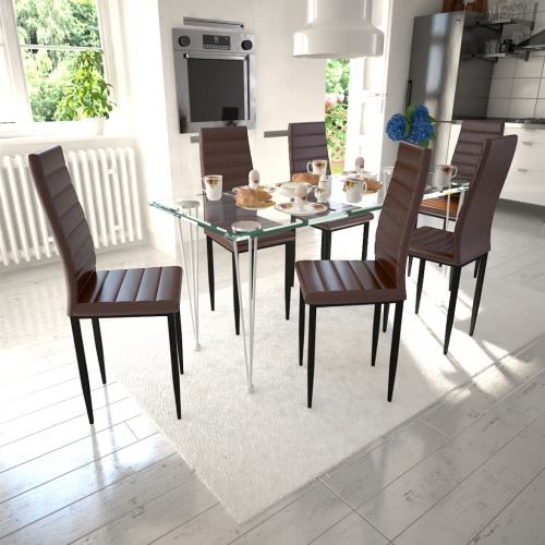 Dining Chair Set Brown Slim Line 6 pièces avec 1 Glass Table