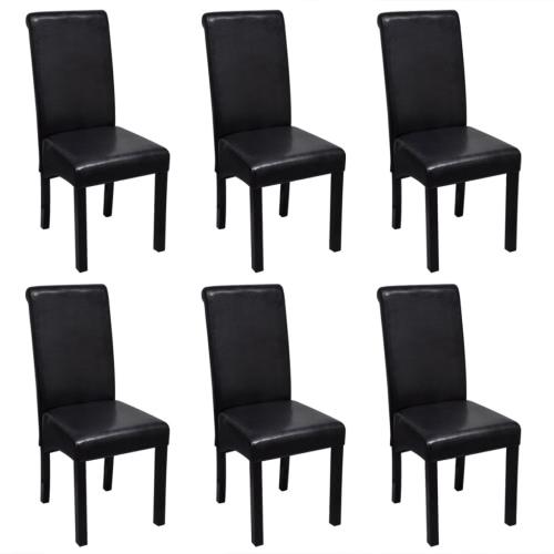Cena la silla de cuero artificial Negro Conjunto de 6