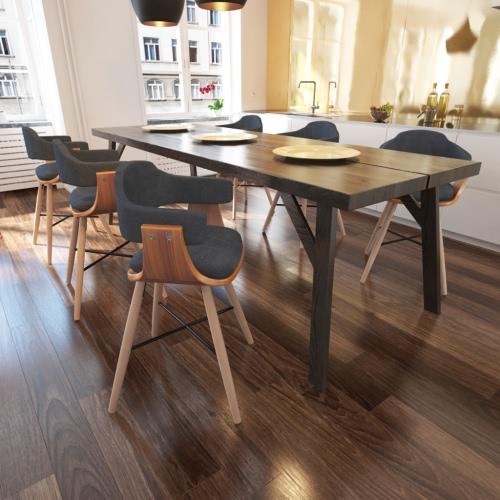 6 pezzi pasti sedia in legno curvato con tessuto Rivestimento