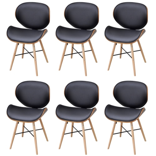 6 Pieces Dining Chair With Curved Wooden Frame Without Armrests