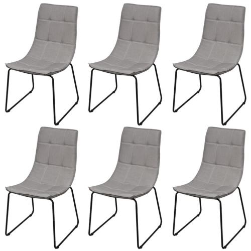 6 Seats in Light Gray Cloth Iron Legs