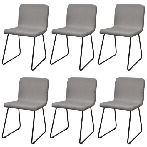 Tela 6 Sillas de comedor piernas de hierro gris claro