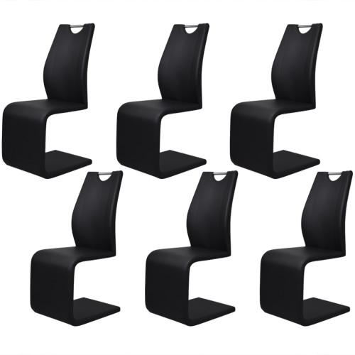6 Schwarz Kunstleder Cantilever Esszimmerstühle mit Griff