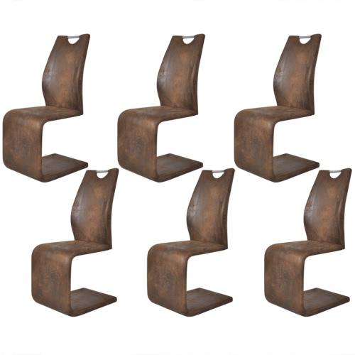 6 Brown-Kunstleder-Cantilever Esszimmerstühle mit Griff