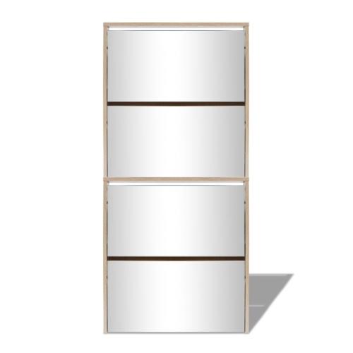 Шкаф для обуви 4-слойный зеркальный дуб 63x17x134 см