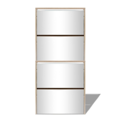 Armoire à chaussures 4-Layer Mirror Oak 63x17x134 cm