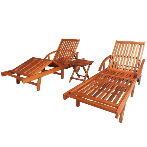 Three Piece Sun Lounger and Table Set Solid Acacia Wood Brown