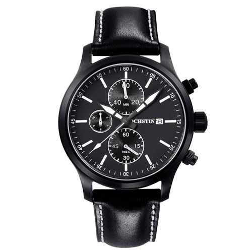 OCHSTIN Luxury Fashion Genuine Leather Man's Casual Wristwatch