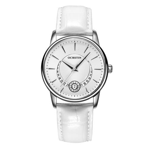 OCHSTIN marca luxo couro genuíno quartzo casual relógios das mulheres