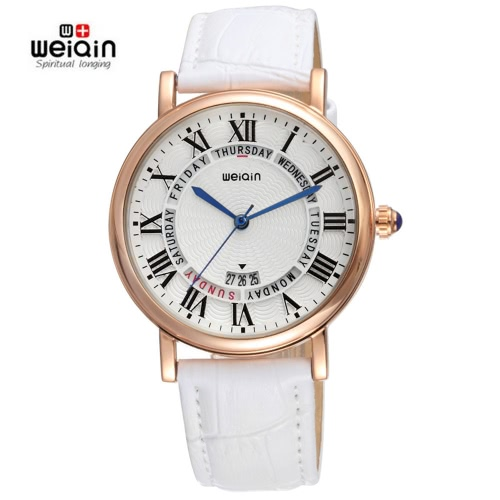 WEIQIN Auto Date 3ATM Casual Moda Zegarki damskie Luksusowa Brand PU Leather Quartz Zegarek Dress Gift