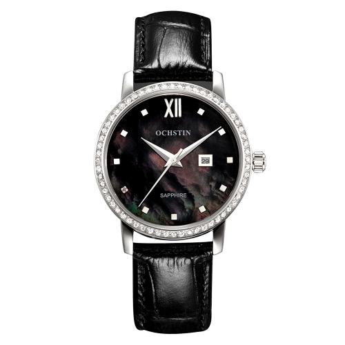 OCHSTIN 2016 Brand Luxury Fashion Sapphire Quartz Casual Women Watches Genuine Leather Rhinestone Ladies Dress Wristwatch With Calendar + Watch Box