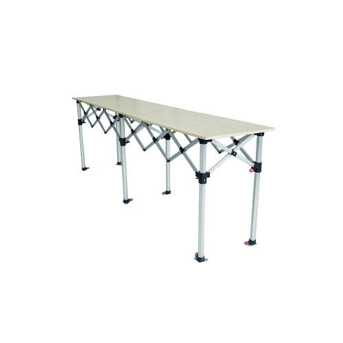 Comptoir table pliante hauteur réglable 285x60cm large plateau bois mélaminé