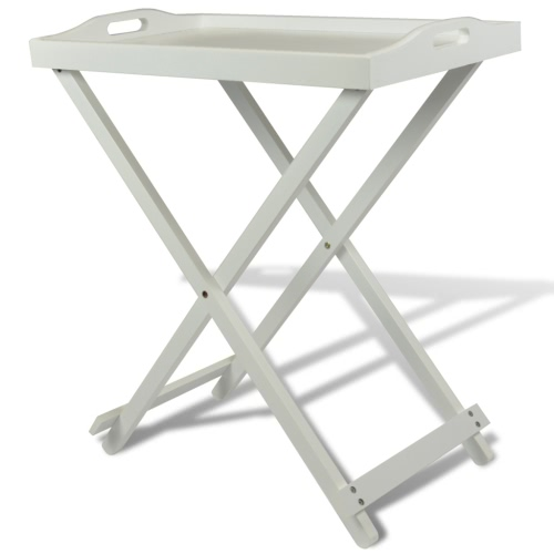 Folding Serving Tray Side Table White MDF