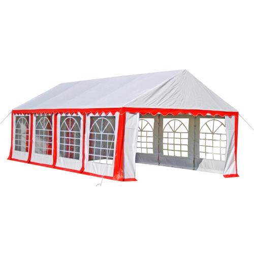 bâche de toit de remplacement côtés de la tente Pavillon 8 x 4 m rouge et blanc