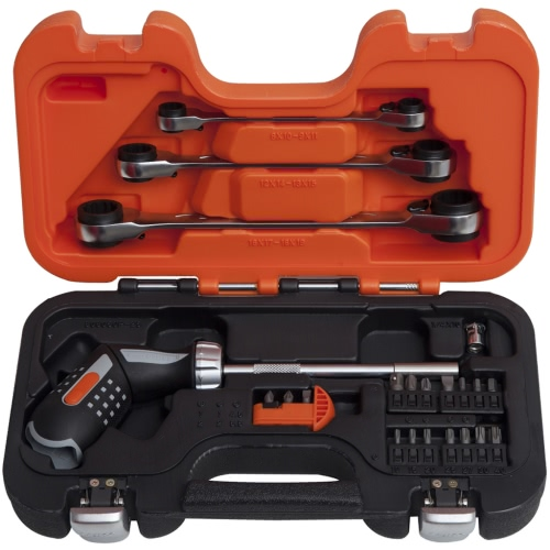 Bahco Pistol Handle Ratcheting and Ratchet Wrench Set 808050P-25