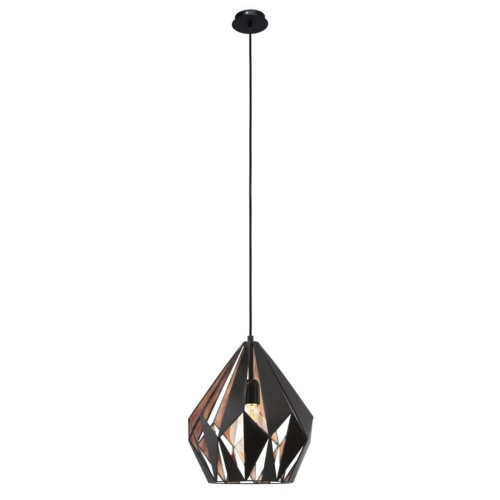EGLO Pendant Lamp Carlton 1 Black Copper Colour 49254