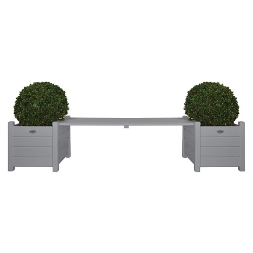 Esschert Design Pflanzkästen mit Bankbrücke grau CF33G