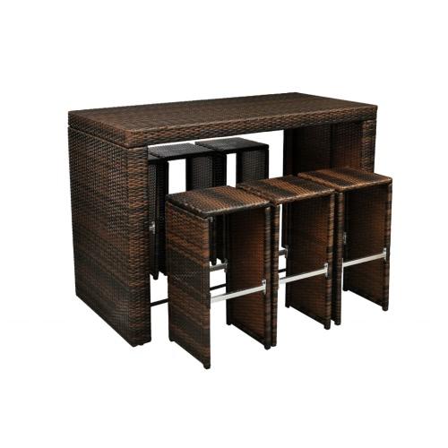 Muebles de ratán poli Bar en marrón