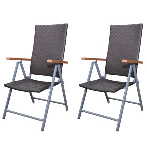 2x poli silla de paja plegable Tumbona Muebles de jardín de Brown Alu