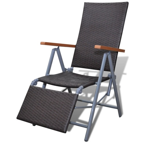 Ротанг Складной стул Шезлонг Садовая мебель Alu Brown