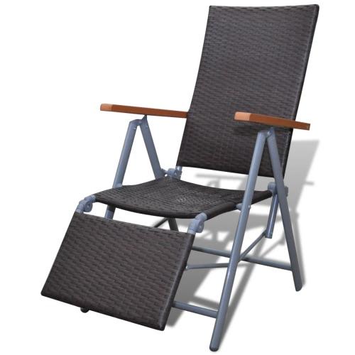 Meubles en rotin Chaise pliante Chaise longue Jardin Alu Brown