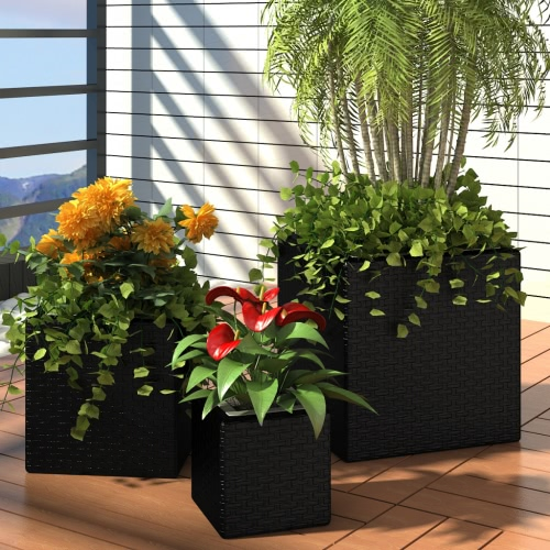 Garden Square Rattan Planter Set 3 pcs Black