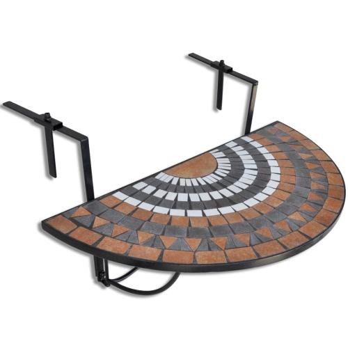 Mosaic Balcony Table Hanging Semi-circular Terracotta White
