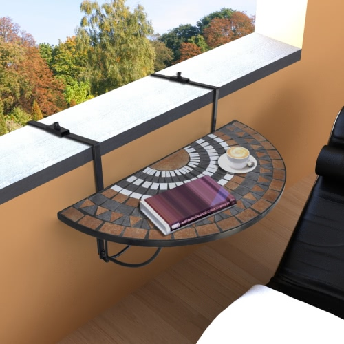 Folding mosaic D balcony hanging table