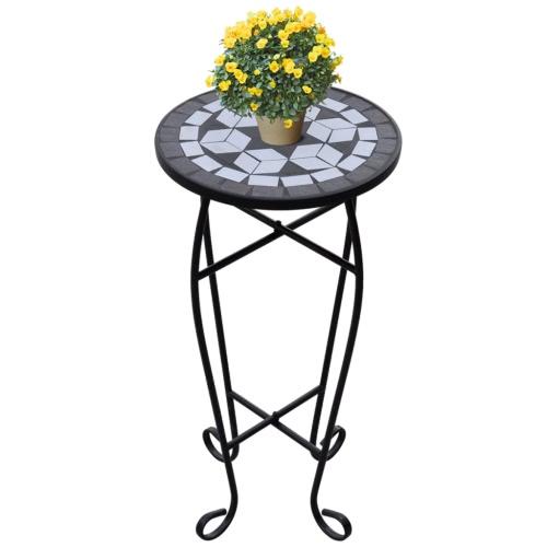 Mosaic Side Table Plant Table Black White