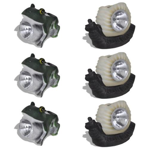 12X LEDスポットライトランプソーラー3xFrosch 3xSchneckeスポットライト