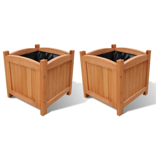 Wooden Planter 30 x 30 x 30 cm Set of 2